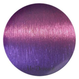 Modelo rosado y púrpura metálico de las fibras plato para fiesta