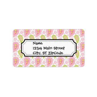 Modelo rosado y verde bonito de Paisley Etiqueta De Dirección