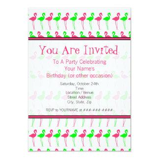 Modelo rosado y verde de la invitación del fiesta invitación 12,7 x 17,8 cm