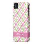 Modelo rosado y verde de la tela escocesa iPhone 4 cárcasas