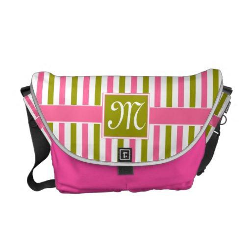 Modelo rosado y verde de las rayas bolsas de mensajeria
