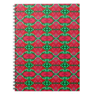 Modelo rosado y verde del hexágono de la sandía libros de apuntes con espiral