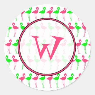 Modelo rosado y verde del pegatina del monograma