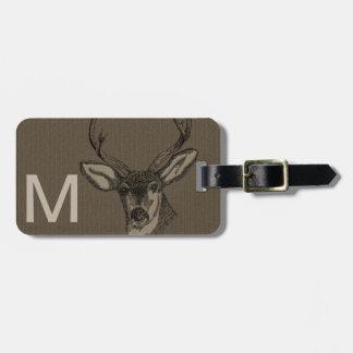 Modelo rústico de la cabeza de los ciervos de la m etiquetas de equipaje