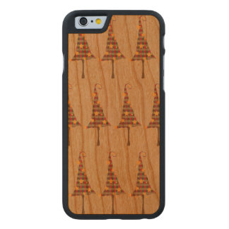 Modelo rústico de los árboles de navidad funda de iPhone 6 carved® slim de cerezo