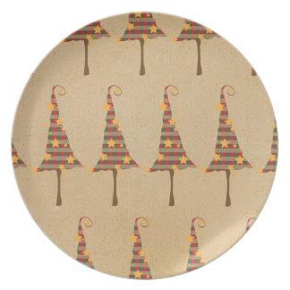 Modelo rústico de los árboles de navidad platos de comidas