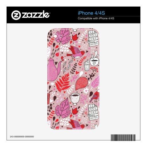 Modelo sabroso con los pájaros y las flores calcomanías para iPhone 4S