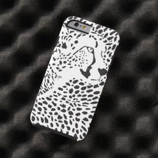 Modelo salvaje del blanco del negro de la piel del funda para iPhone 6 tough