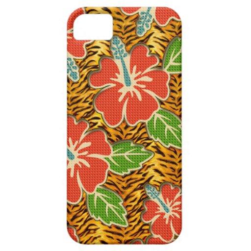 Modelo salvaje del tigre de las flores tropicales funda para iPhone 5 barely there