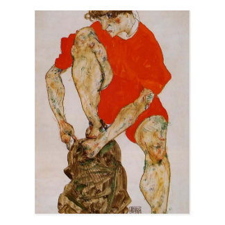 Modelo Schiele-Femenino de Egon en chaqueta y pant Tarjetas Postales