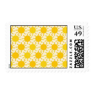 Modelo soleado amarillo retro sello