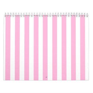 Modelo sólido de las rayas de los rosas bebés feme calendarios de pared