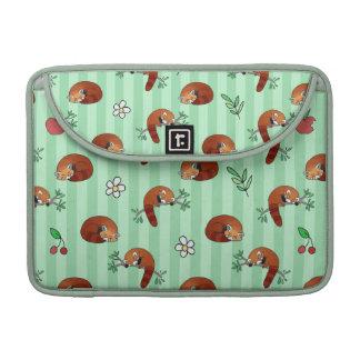 Modelo soñoliento lindo de la panda roja fundas macbook pro