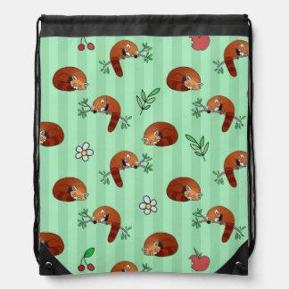 Modelo soñoliento lindo de la panda roja mochilas