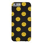 Modelo sonriente amarillo de la cara en negro funda de iPhone 6 barely there