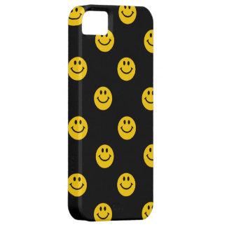 Modelo sonriente amarillo de la cara en negro iPhone 5 carcasas