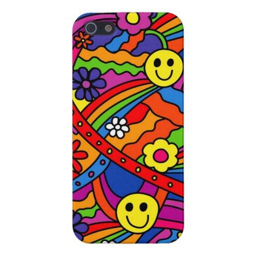 Modelo sonriente del hippy del arco iris y de la f iPhone 5 protectores