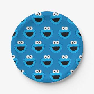 Modelo sonriente del monstruo de la galleta plato de papel de 7 pulgadas