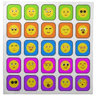 Modelo sonriente feliz de los Emoticons de la cara Servilletas