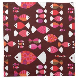 Modelo subacuático de los pescados retros abstract servilleta de papel