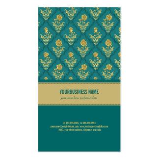 Modelo subió vintage del damasco del verde tarjetas de visita
