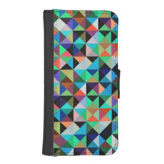 Modelo tejado coloreado multi de los triángulos fundas billetera de iPhone 5