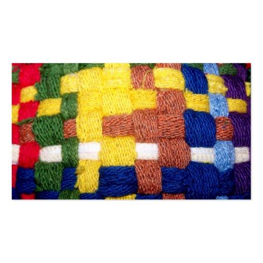 Modelo tejido colorido tarjetas de visita
