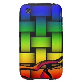 Modelo tejido moderno multicolor tough iPhone 3 cárcasa
