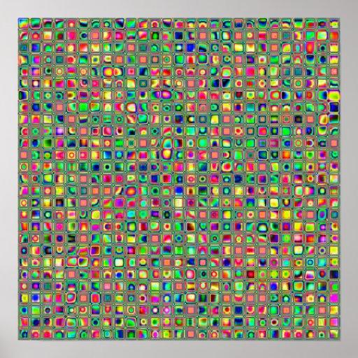 Modelo texturizado arco iris de neón de las tejas  póster