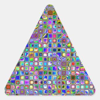 Modelo texturizado arco iris psicodélico de las te pegatina de triangulo personalizadas