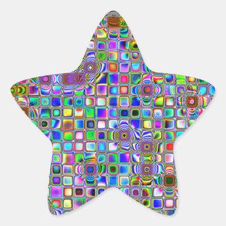 Modelo texturizado arco iris psicodélico de las te calcomanías forma de estrella