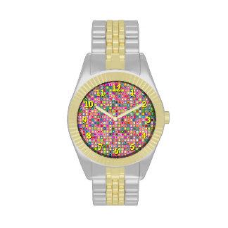 Modelo texturizado de las tejas de mosaico de los reloj de mano