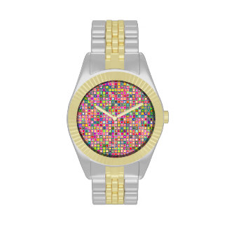 Modelo texturizado de las tejas de mosaico de los relojes de mano