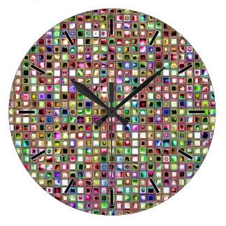 Modelo texturizado de las tejas de mosaico del reloj redondo grande