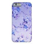 Modelo texturizado floral del azul y de la lavanda funda para iPhone 6 barely there
