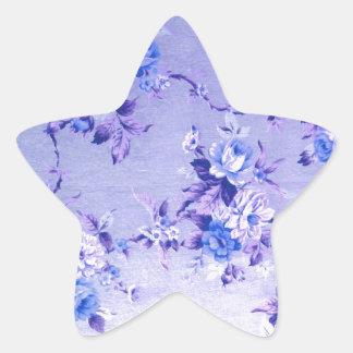 Modelo texturizado floral del azul y de la lavanda colcomanias forma de estrellaes