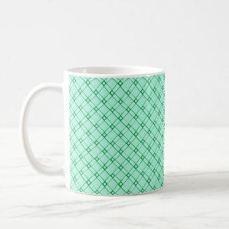 Modelo texturizado verde del cuadrado, oblongo y taza