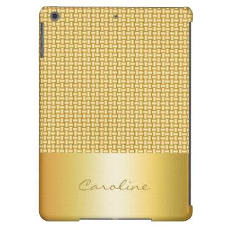 modelo trenzado del oro con el lugar para el texto funda para iPad air
