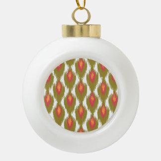 Modelo tribal abstracto magenta verde del diamante adorno de cerámica en forma de bola