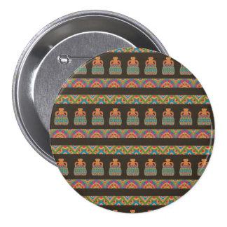 Modelo tribal africano tradicional de la cerámica pin redondo de 3 pulgadas