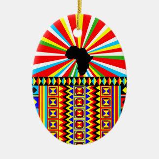 Modelo tribal Ankara de la impresión del paño Adorno Navideño Ovalado De Cerámica