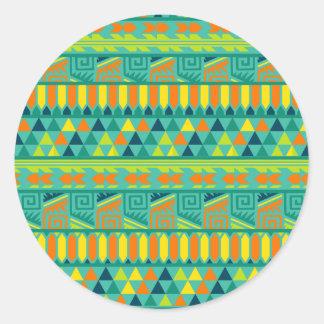 Modelo tribal azteca abstracto colorido de la pegatina redonda