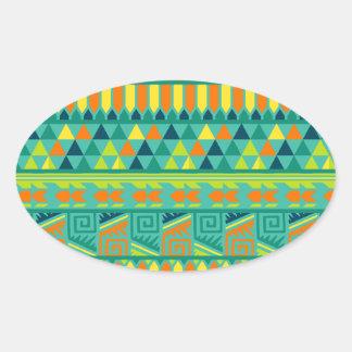 Modelo tribal azteca abstracto colorido de la pegatina ovalada
