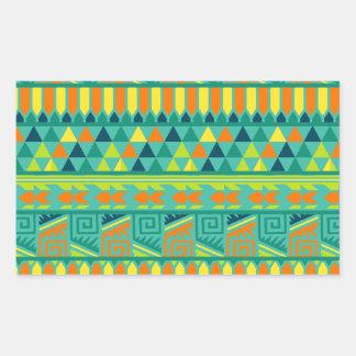 Modelo tribal azteca abstracto colorido de la pegatina rectangular