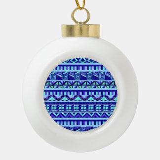 Modelo tribal azteca abstracto geométrico azul de adorno de cerámica en forma de bola