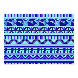 """Modelo tribal azteca abstracto geométrico azul de invitación 5"""" x 7"""""""