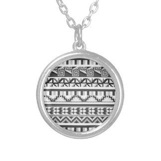 Modelo tribal azteca abstracto geométrico gris de joyeria personalizada