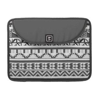 Modelo tribal azteca abstracto geométrico gris de fundas para macbook pro