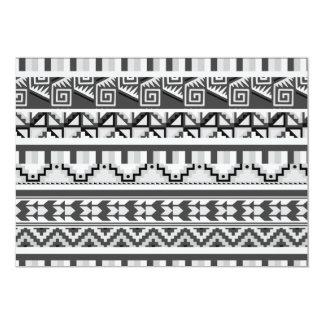 """Modelo tribal azteca abstracto geométrico gris de invitación 5"""" x 7"""""""