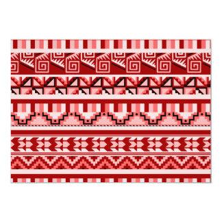 """Modelo tribal azteca abstracto geométrico rosado invitación 5"""" x 7"""""""
